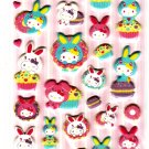 Sanrio Japan Hello Kitty Colorful Bunny Puffy Sticker Sheet by Sun-Star (B) 2010 Kawaii