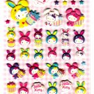 Sanrio Japan Hello Kitty Colorful Bunny Puffy Sticker Sheet by Sun-Star (C) 2010 Kawaii