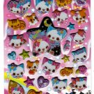 Crux Japan Angel and Devil Cats Puffy Sticker Sheet Kawaii