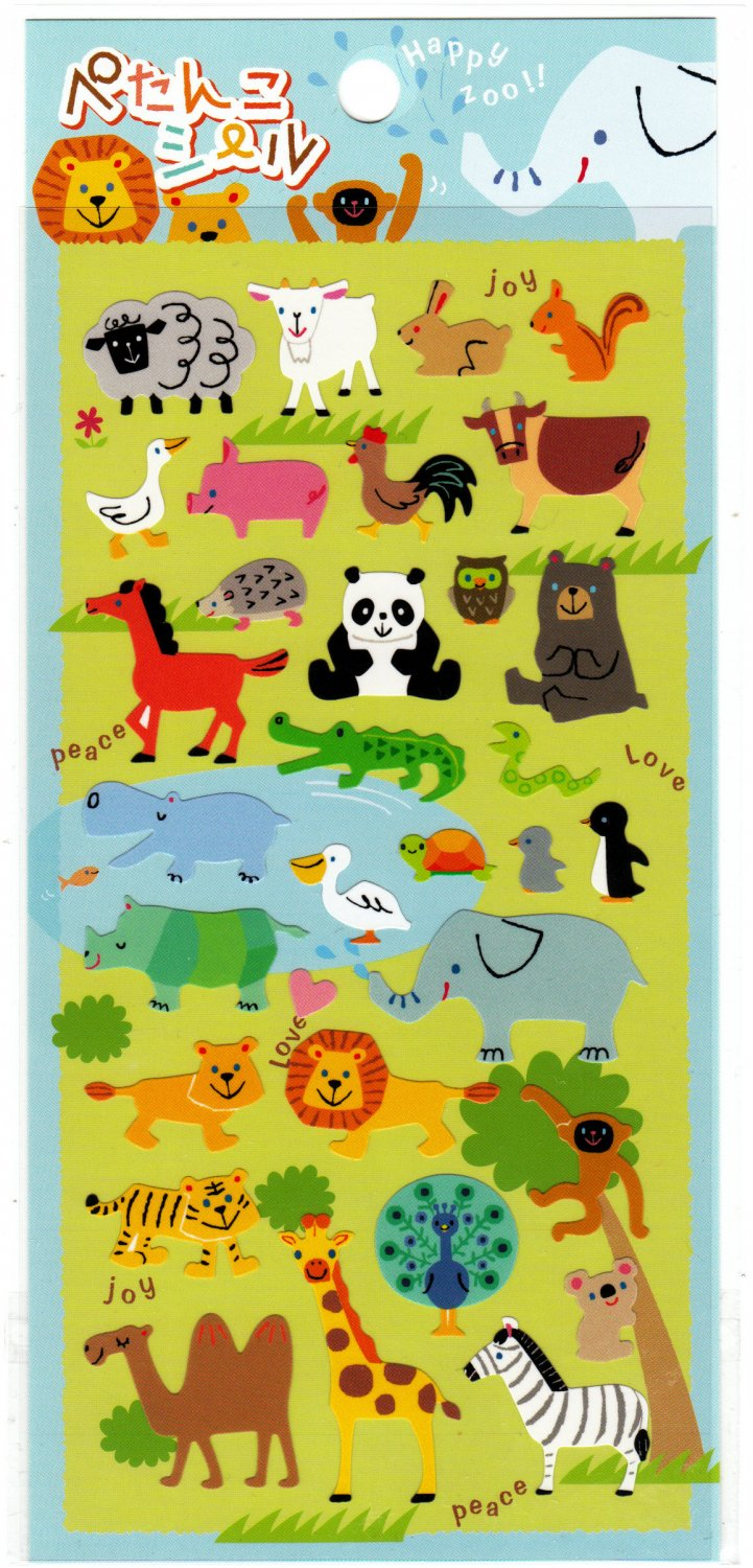 Phoenix Japan Happy Zoo Sticker Sheet Kawaii