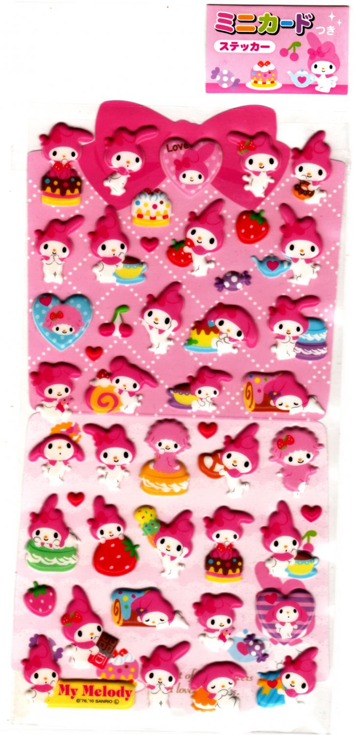 Sanrio Japan My Melody and Pastries Puffy Sticker Sheet 2010 Kawaii