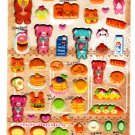 Lemon Japan Happy Bear World Puffy Sticker Sheet Kawaii