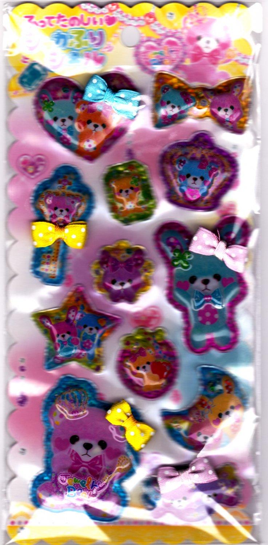 Crux Japan Jewelry Bear Beads in Bubble Sticker Sheet Kawaii