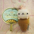 San-X + Green Camel Japan Nyanko Cat Ice Cream Cone Mascot Plush Charm Keychain Strap Kawaii