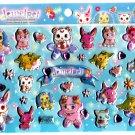 Sanrio Japan Sega Toys Jewel Pet Glitter Puffy Sticker Sheet 2011 Kawaii