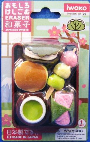 Iwako Japan Japanese Sweets Diecut Erasers Set of 5 with Tray Kawaii