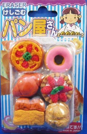 Iwako Japan Pastries Diecut Erasers Set of 6 with Tray Kawaii