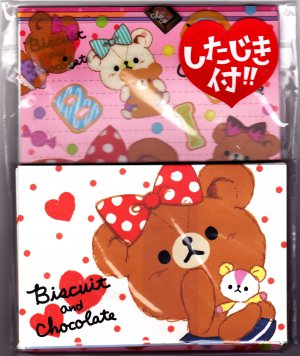 Kamio Japan Biscuit and Chocolate Letter Set with Desk Pad Kawaii