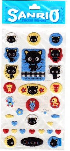 Sanrio Japan Chococat and Friends Fuzzy Sticker Sheet 1999 Kawaii