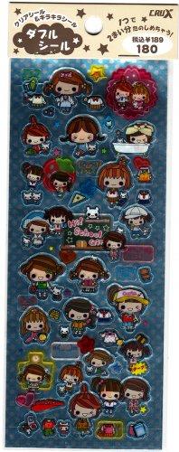 Crux Japan Hi! School Girl 2 in 1 Sticker Sheet Kawaii