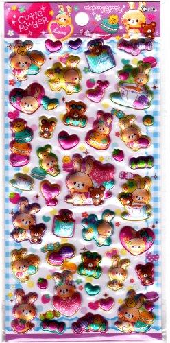 Q-Lia Japan Cutie Powder Puffy Sticker Sheet Kawaii