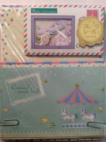 Q-Lia Japan Carousel Magic Land Letter Set with Sticker Flakes Kawaii