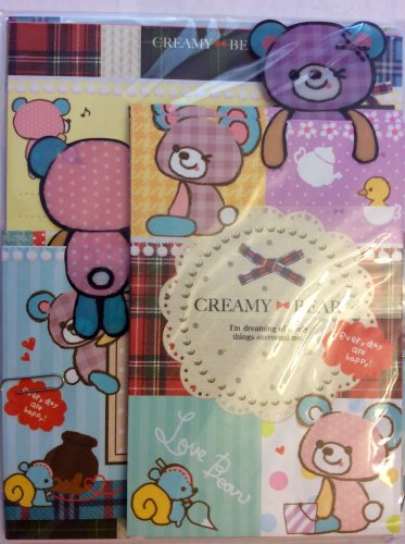 Q-Lia Japan Creamy Bear Letter Set with Bookmarks Kawaii