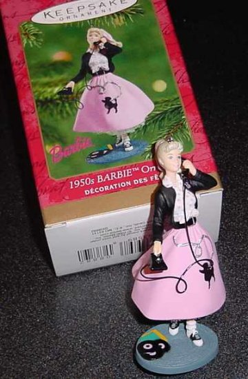 Hallmark 2001 1050s Barbie in Pink Poodle Skirt Ornament