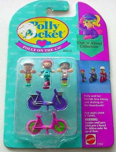 Bluebird 1994 Polly Pocket ON THE GO Biking & Skating Set