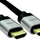Premium High Speed 8K HDMI 2.1 Lead with Ethernet, Silver Aluminium Hoods, 0.5m