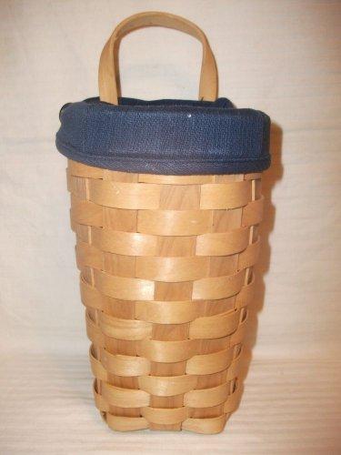 "Very Nice ""Taskets Renaissance"" Navy Blue Fabric Lined 8"" Weaved Basket Planter"