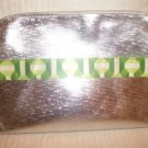 Lot of 2 Clinique Silver & Green Large Cosmetic Makeup Bag Clutch