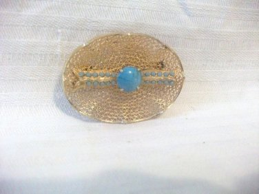 Vintage Faux Turquoise & Filigree Goldtone Pin Brooch