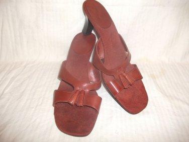 BANDOLINO  Brick Rust LEATHER Slide Sandal Shoes GRACIES SZ 10 EXCELLENT COND*