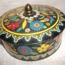 Vintage Round Tin Box & Lid Vibrant Colors Cloisonne Look England