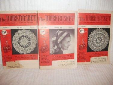 WORKBASKET MAGAZINE LOT OF THREE (3) Dec 1952 Nov 1953 April 1954