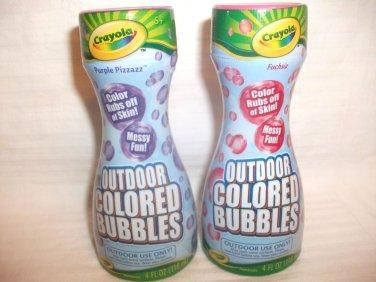 Lot Crayola Brand Outdoor Colored Bubbles 4 Fl. Oz. Each FUCHSIA & PURPLE