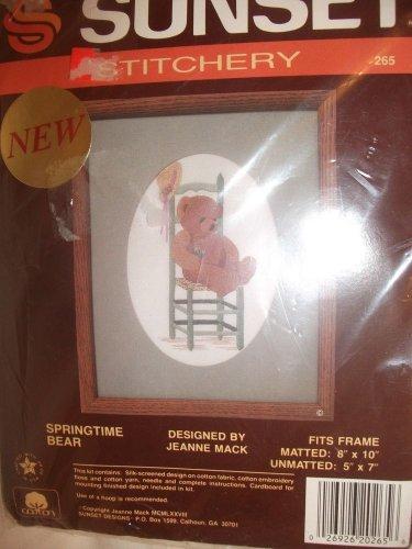 """Sunset Stitchery Kit # 265  Springtime Bear By Jeanne Mack Cross Stitch 5"""" x 7"""""""