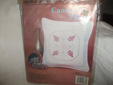 "Colony Collection Candlewick Embroidery Kit GRAPES of WRATH 16"" Pillow Kit NIP"