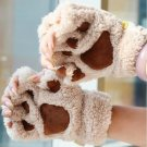Cute Cat Claw Paw Plush Mittens Warm Fluffy Fingerless Gloves