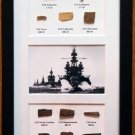 WWII Navy Ship Display With Wood From 11 Ships, Own a Mini-Museum!  Great Holiday Gift!