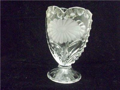 LEAD CRYSTAL ETCHED HEART SHAPED VASE