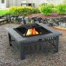 """32"""" Outdoor Patio Firepit Fireplace Stove Heater Wood Burning Metal Square"""