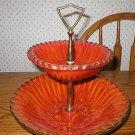 Cal Pottery Brilliant Orange 2-Tier Tidbit Serving Dish