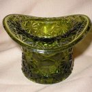Fenton Vintage Daisy & Button Green Glass Top Hat