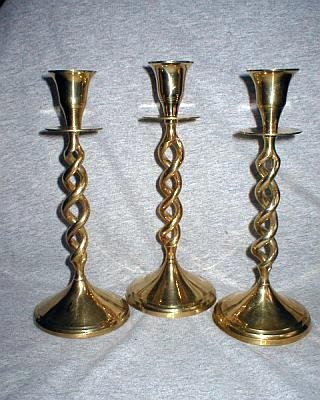 3 Piece Solid Brass Candle Holder Candlestick Set