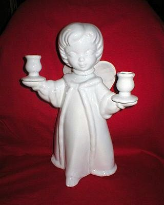 Large Studio Pottery Ceramic Angel Candle Holder
