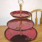 Large Red Chrome 3-Tier Poinsettia Tidbit Serving Tray