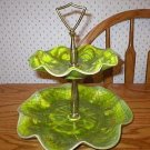 Cal Style Art Pottery 2-Tier Green Tidbit Serving Tray