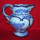 Portugal Art Pottery Blue Floral Beverage Pitcher Vase