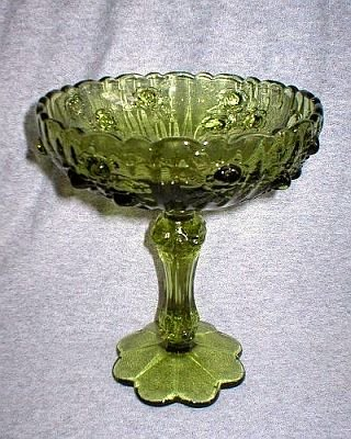 Fenton Vintage Sage Green Colonial Rose Bowl Compote