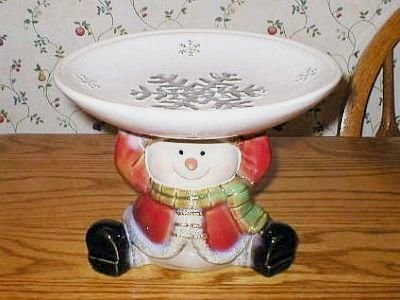 Art Pottery Ceramic Snowman Cookie Candy Serving Dish