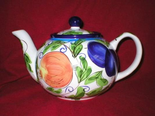 Zrike Amalfi Art Pottery Multi Fruit Tea Pot Teapot