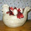 Country Folk Art Chicken Hen Pot Planter Figurine