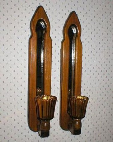 Two Solid Pine Wall Mount Mirror Sconce Candle Holders