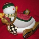 Debbie Mumm Angel Village Snowman Bowl Dish