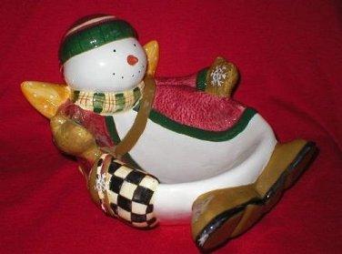 Debbie Mumm Angel Village Snowman Bowl Dish