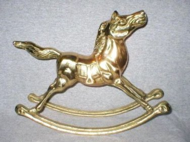 "Big 11"" Solid Brass Rocking Horse Circus Figurine"