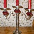 Vintage Red Jewel Pewter Candelabra Candle Holder
