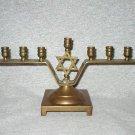 Star of David Vintage Brass Hanukkah Menorah